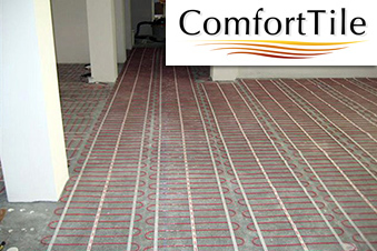 ComfortTile floor heating mats with logo.